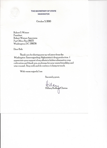 Hillary Clinton's Letter